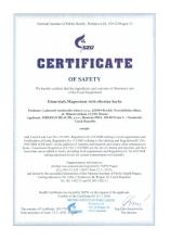 Certificate of safety Elemvitals. Magnesium with siberian herbs